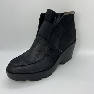 Eileen Fisher Black Suede Pull On Ankle Boots
